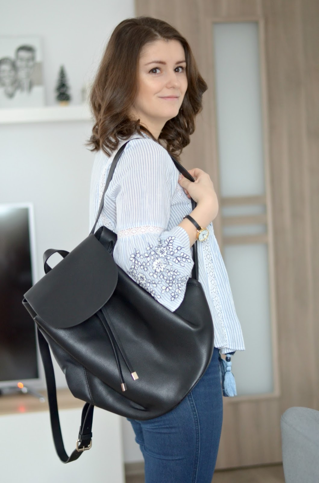 black backpack for moms diaper bag