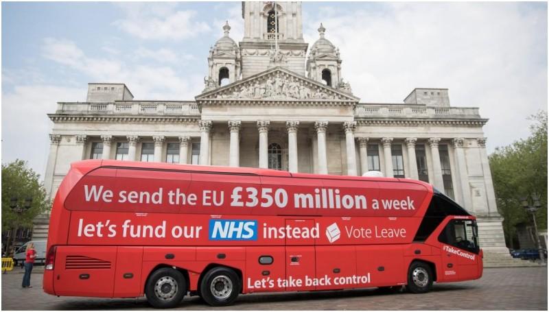 Iklan kampanye Brexit di bus Inggris