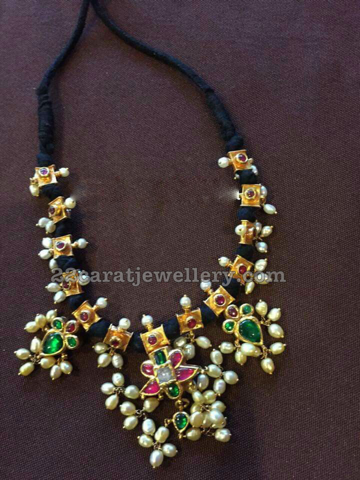 Different Style Black Dori Necklaces Jewellery Designs
