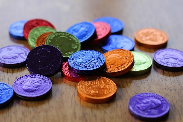 Make a secret message treasure hunt using chocolate coins