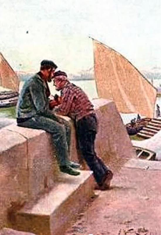 Pescadores, Juan Martínez Abades, Pintor español, Paisajes de Juan Martínez Abades, Pintor Martínez Abades, Pintores españoles, Pintores Asturianos, Martínez Abades