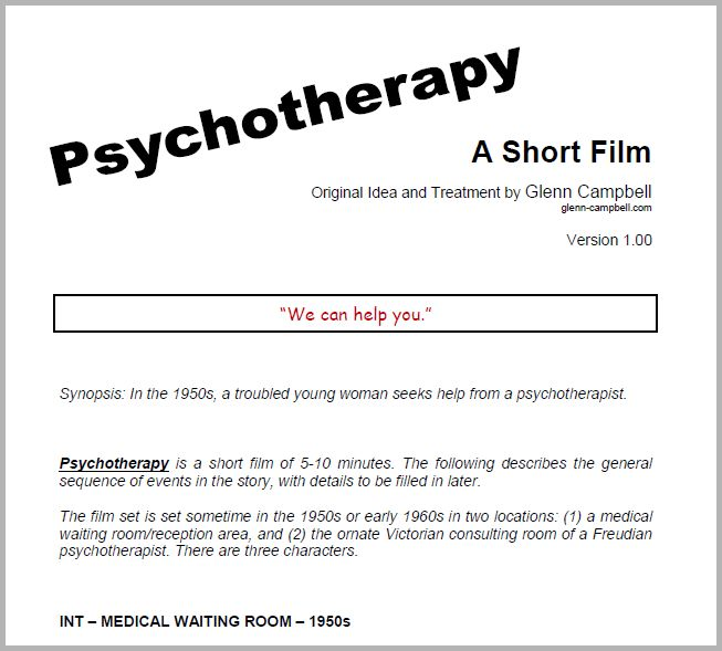 Bad Words Psychotherapy (treatment for a short film)