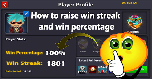How to raise win streak 8bp and win percentage 8 ball pool
