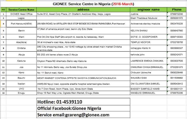 gionee service centers in nigeria