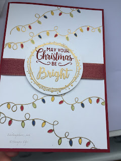 Christmas card with fairy lights stamp by Inkstampshare