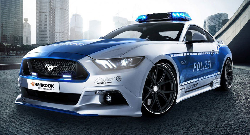 ford mustang transformed into a german police car at essen. Black Bedroom Furniture Sets. Home Design Ideas