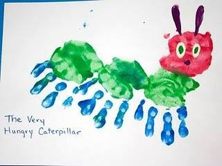 Idea to draw caterpillar using handprint for kids