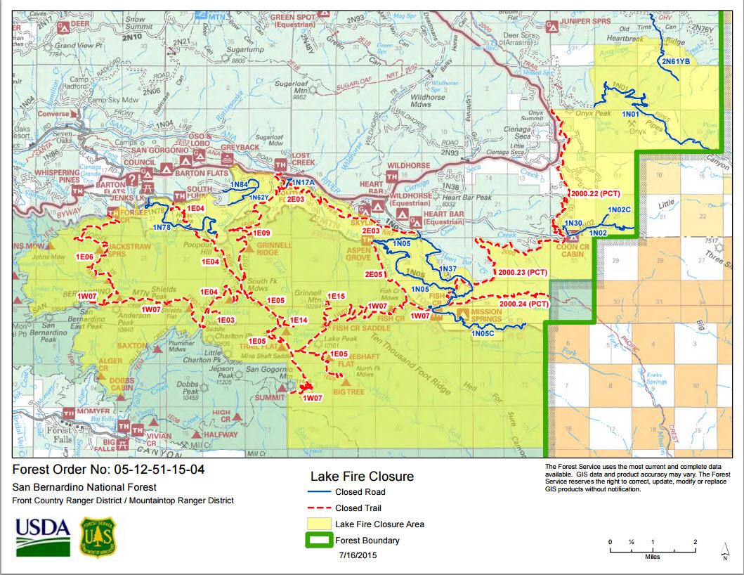 Hikin Jim S Blog Updated Lake Fire Closure Map
