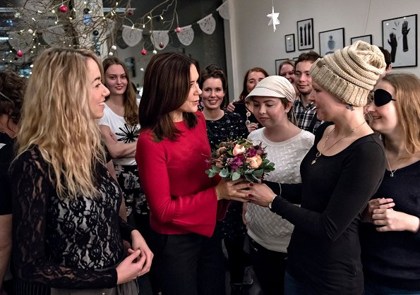 Crown Princess Mary wore IRIS AND INK Anna fluted cashmere sweater at Cancer Work at the Rigshospitalet