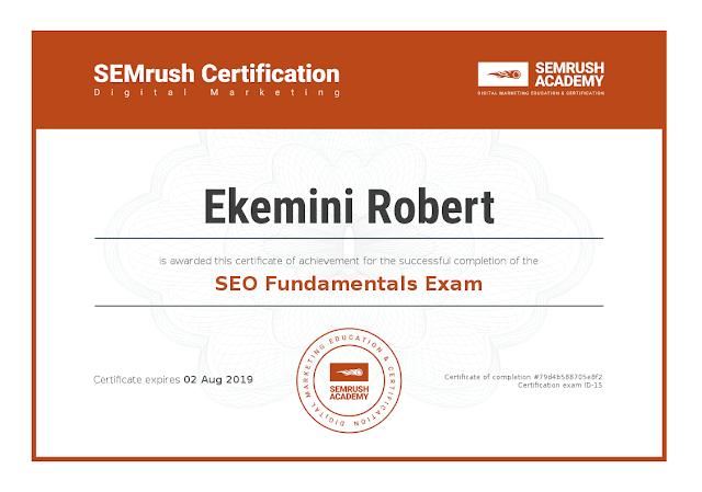 Ekemini Robert's SEO Fundamentals Exam Certificate