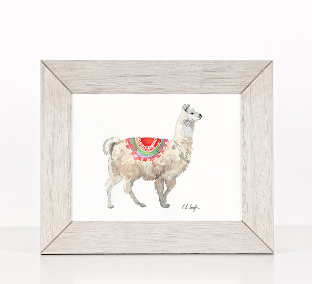 Tan Watercolor Llama Painting by Elise Engh