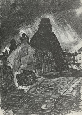 Reginald Haggar, pencil and wash. Locketts Lane, Longton 1970