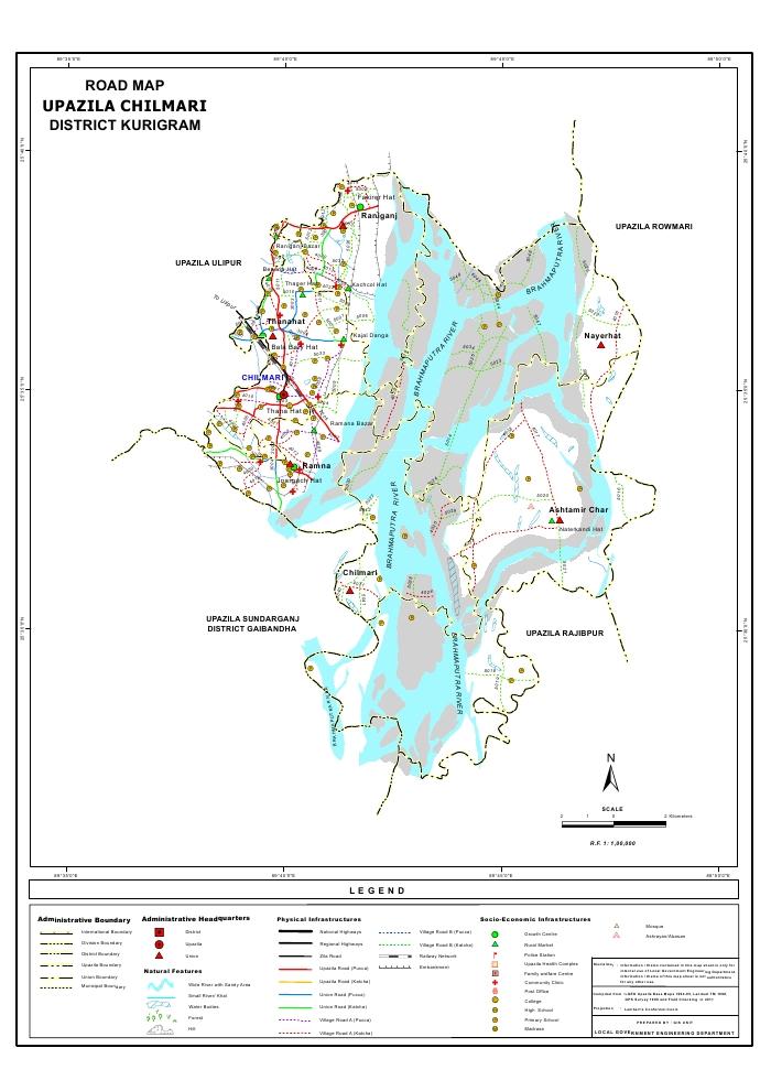 Chilmari Upazila Road Map Kurigram District Bangladesh