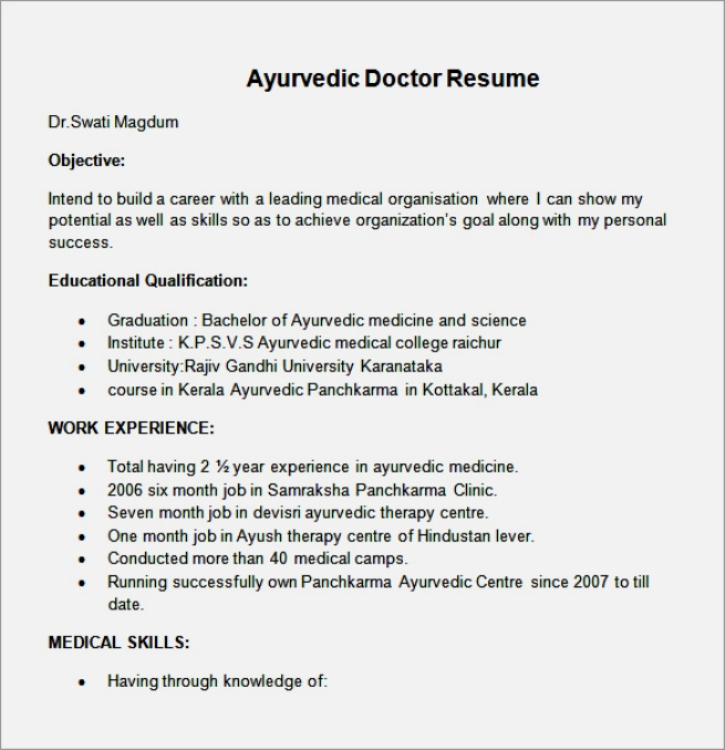 8 amazing doctor resume templates - Doctor Resume Template