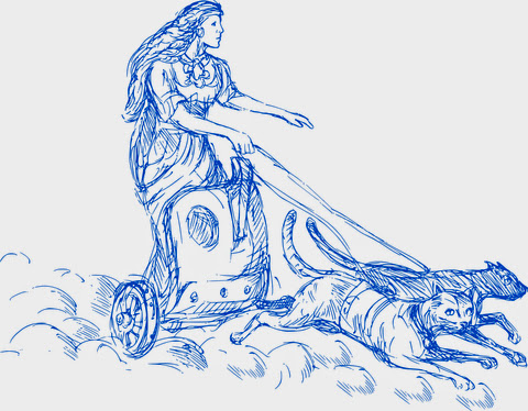 Freya in chariot pulled by two blue cats