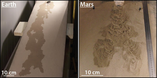 Comparison of morphologies formed by the flow of liquid water on Earth and on Mars. Credit: Marion Massé