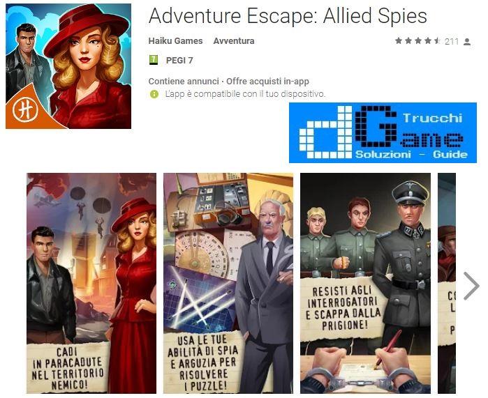 Soluzioni Adventure Escape: Allied Spies