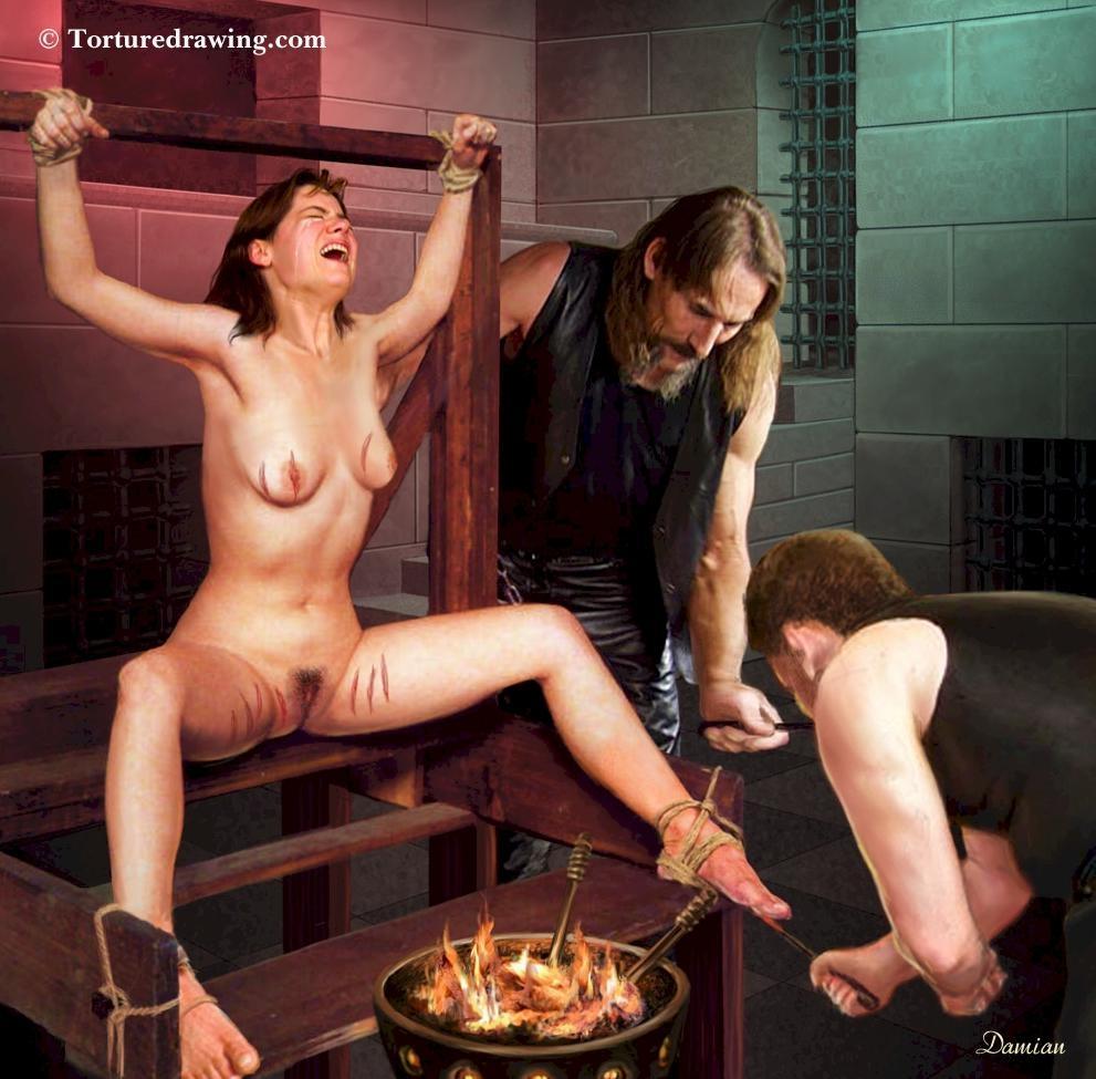 between legs hot coals torture
