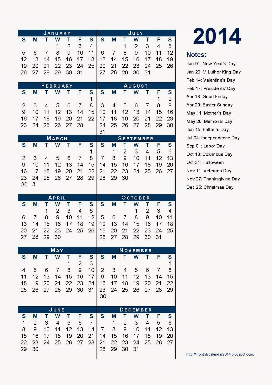 Yearly Calendar 2014 - Printable Calendar 2014, Blank ...