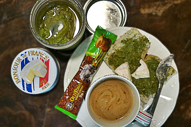 Midday Pick Me Up with Coffee, Bread and Pesto | Food