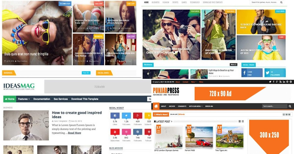 Mix 50 Awesome Latest Blogger Templates Free Download 2018