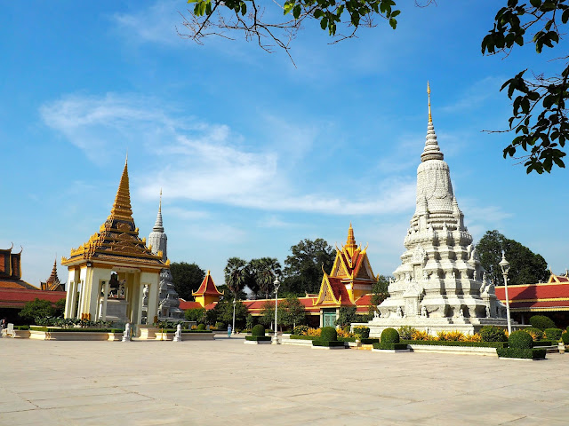Courtyard outside the Silver Pagoda in the Royal Palace complex in Phnom Penh, Cambodia
