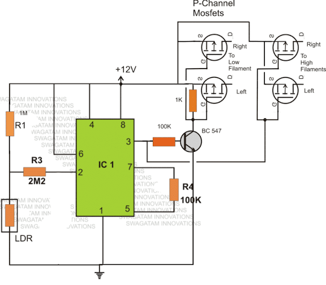 solid state mosfet automotive dimmer dipper circuit using IC 555