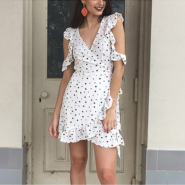Casual Sexy V Neck Off The Shoulder Wave Point Mini Dress