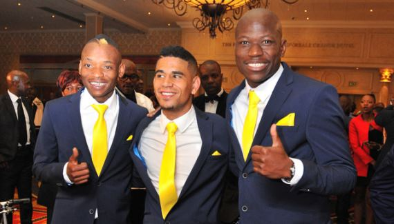 Khama Billiat, Keagan Dolly and Hlompo Kekana at the 2015/16 PSL awards ceremony.