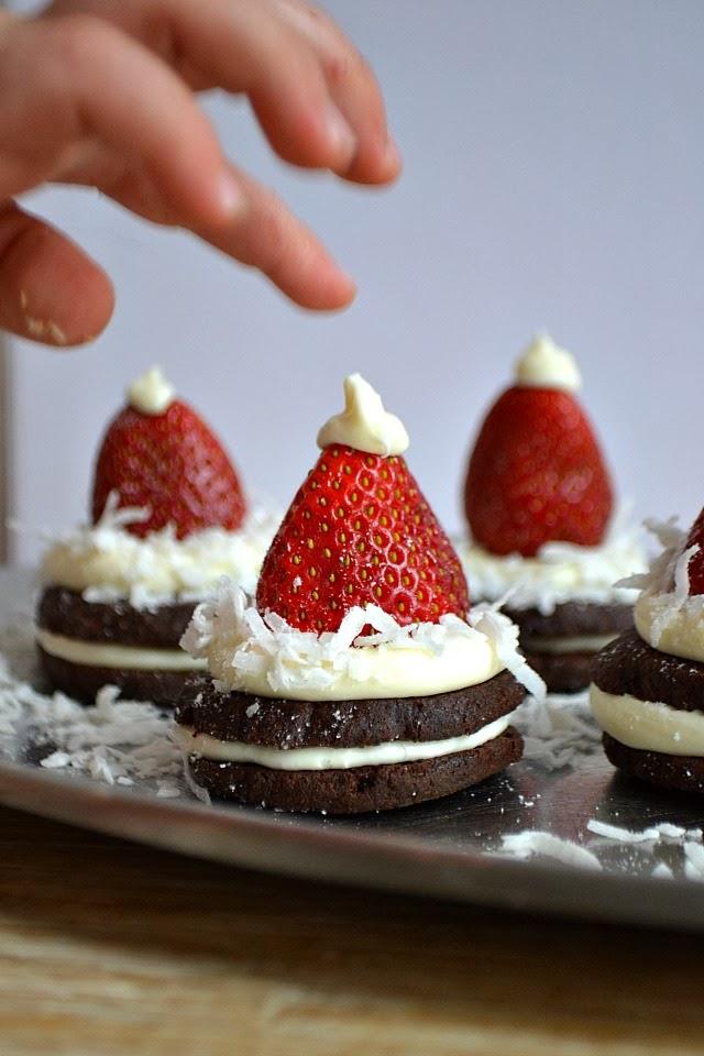 Homemade Oreo Cookies and Santa Hats by Bakeaholic Mama #BringtheCOOKIES