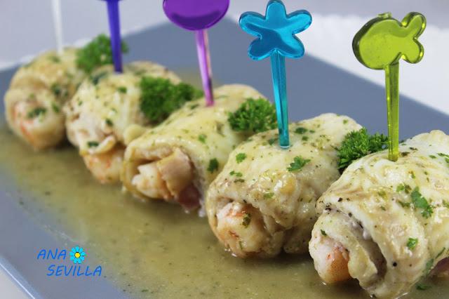 Popietas de lenguado rellenas de langostinos Ana Sevilla cocina tradicional