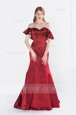 Chic Modern Off The Shoulder Cascading Long Burgundy Satin Evening Dress