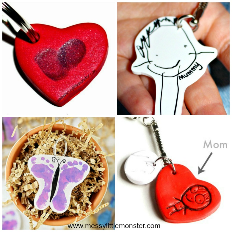 Homemade gifts for mom from kids - easy diy keyring and keychain gifts that kids can make.