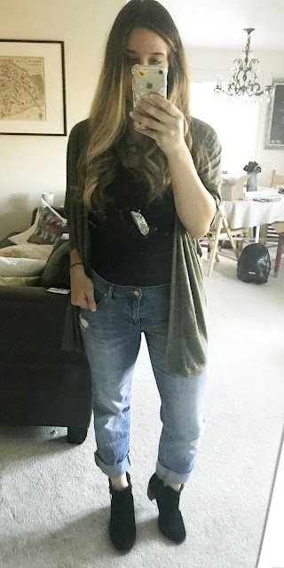 Caslon Boyfriend Jeans, Green Cardigan, Black Booties