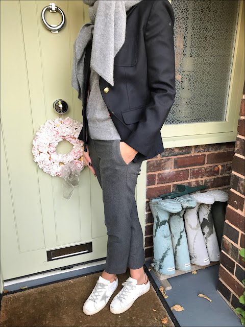 My Midlife Fashion, Zara cashmere scarf, the white company ultimate oxford flannel trousers, J crew rhodes wool blazer, golden goose superstar trainers, H&M cashmere mix crew neck jumper