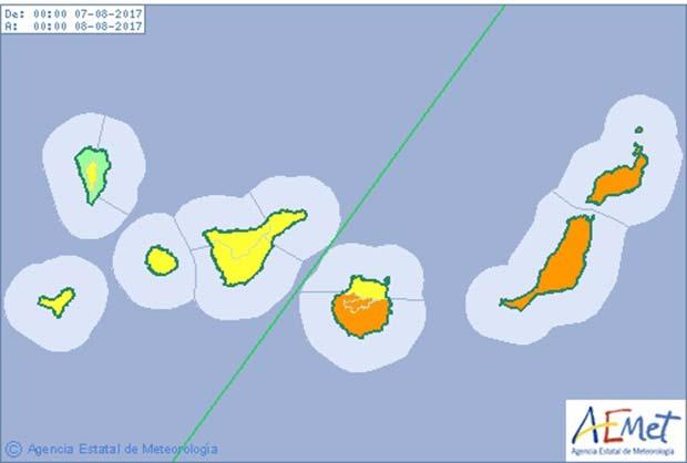 Las isla orientales de Canaria en aviso naranja por altas  temperaturas. Gran Canaria, Lanzarote y Fuerteventura