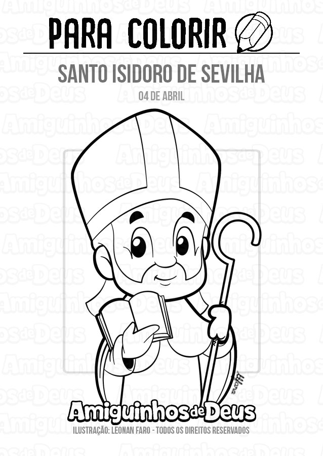 Santo Isidoro de Sevilha desenho para colorir