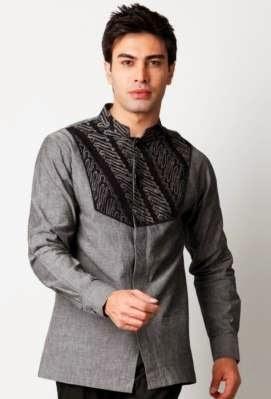 Desain baju batik muslim modern casual terbaru