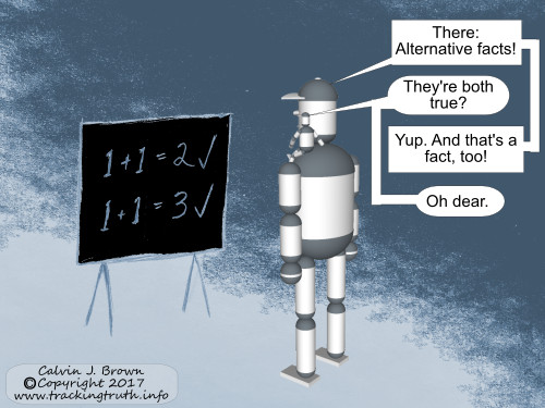 Two robots are discussing the truth of two conflicting arithmetical statements.
