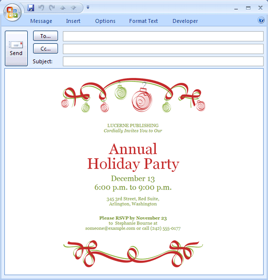 Company Holiday Party Invitation Template – Xmas Party Invite Template Free