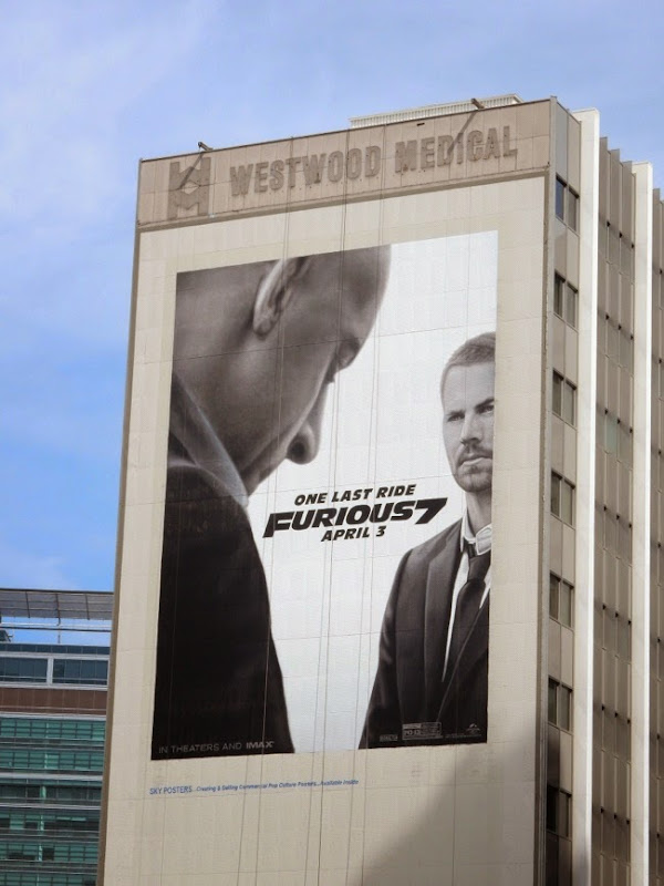 Giant Paul Walker Furious 7 movie billboard