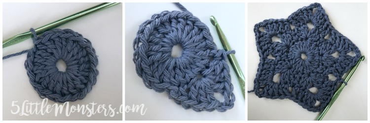 5 Little Monsters Crocheted Star Dishcloth
