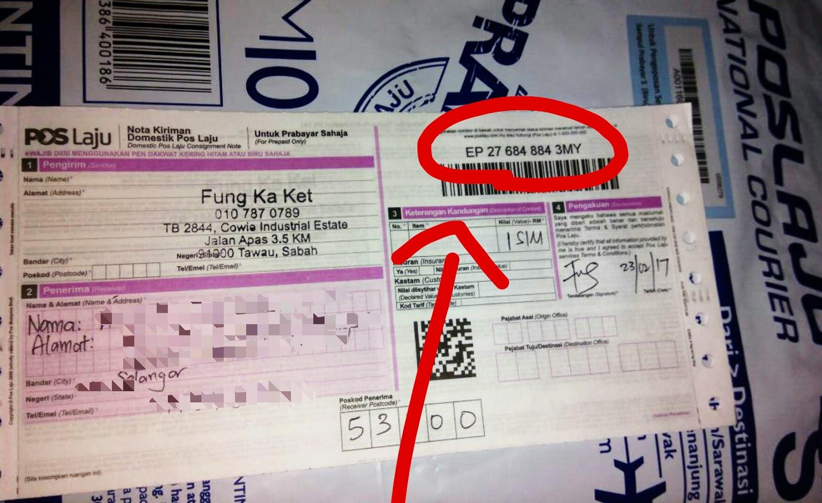 Semak Tracking Number Pos Laju Malaysia Melalui Online Dan Sms