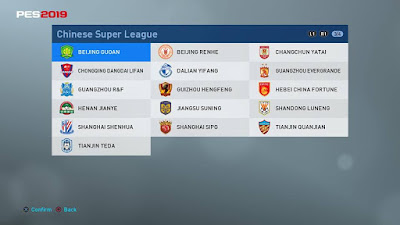 PES 2019 PS4 Option File Chinese Super League Season 2018/2019