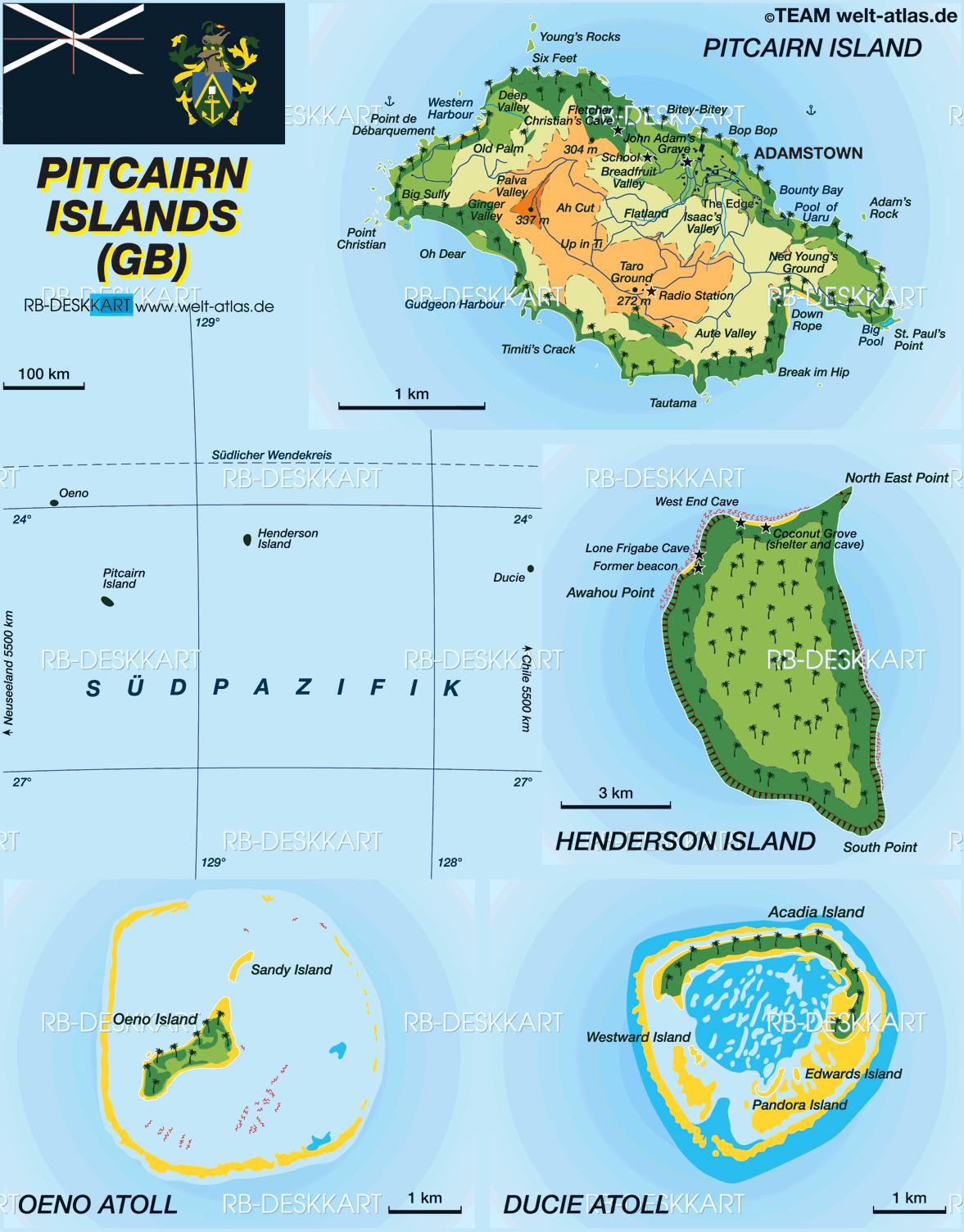 Mapas das Ilhas Pitcairn | Reino Unido