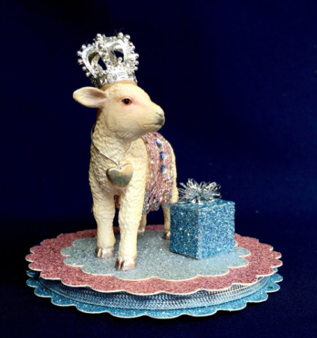 Sparkle Deluxe Laurie Horner Birthday lamb, Birthday sheep, Baby Gift, Baby Decor, Lamb decor, baby shower lamb, nursery lamb, first birthday, baby gift, newborn gift