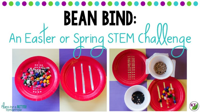 Spring or Easter STEM Challenge: In Bean Bind, students build a device to sort the jelly beans from other beans. Includes modifications for grades 2-8.