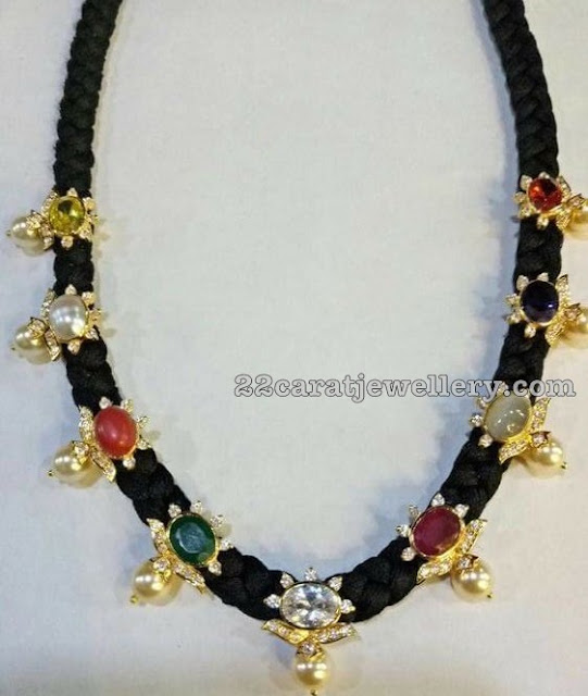 Navaratan Stones Black Thread Necklace