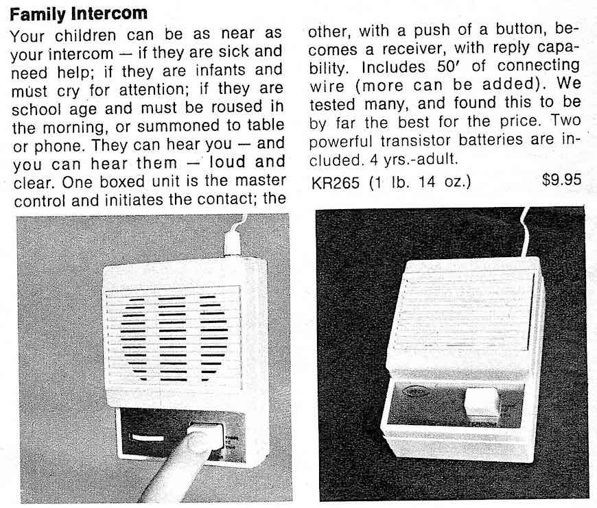 a 1969 battery powered family intercom with 50 feet of cable, an advertisement photograph