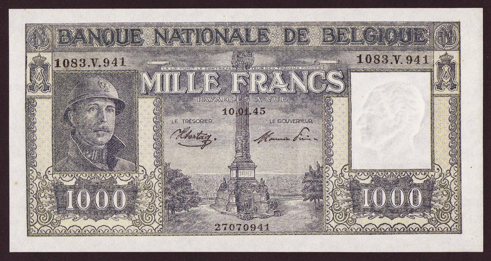 Belgium Banknotes 1000 Francs banknote 1945 King Albert I Adrian helmet and military uniform